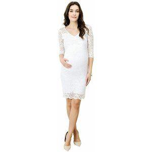 HELLO MIZ Maternity Floral Lace Knee Length Dress